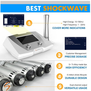 BS-SWT2X electro terapy shockwave physiotherapy medical equipment