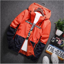 Load image into Gallery viewer, New Spring Autumn Bomber Hooded Jacket Men Casual Slim Patchwork Windbreaker Jacket Male Outwear Zipper Thin Coat Brand Clothing