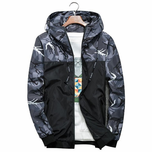 Mens Fashion Jacket Thin Slim Long Sleeve Camouflage Military Jackets Hooded Windbreaker Zipper Outwear Army Brand Clothing