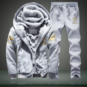 Winter Inner Fleece Hoodies Men 2019 Casual Hooded Warm Sweatshirts Male Thicken Tracksuit 2PC Jacket+Pant Men Moleton Masculino