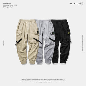 New Casual Pants Men Cotton Cargo Pants Fashion Male Brand Clothing Side Pocket Tape Streetwear Trousers 8866W
