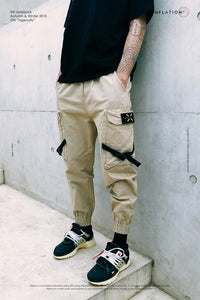 New Casual Pants Men Cotton Cargo Pants Fashion Male Brand Clothing Side Pocket Tape Streetwear Trousers NEW8866W