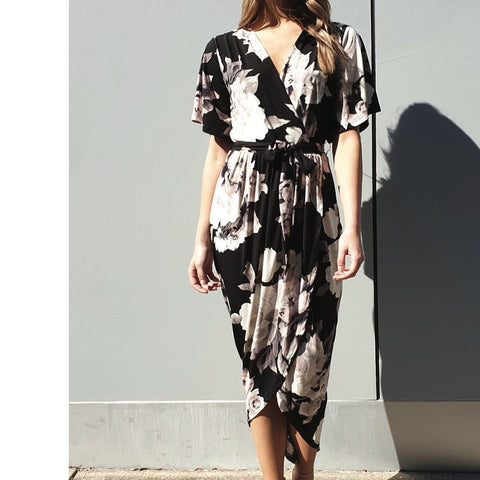 SPICY SUGAR Flow Dress - Black floral