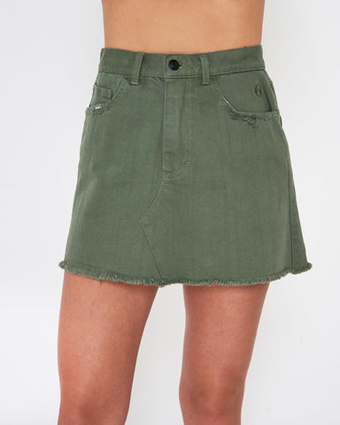 LKI Fracas Olive Green Denim Skirt  product_vendor] - HITTIN'THE STREET