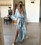 WHITE CLOSET Dana Jumpsuit Dress Blue Palms Print