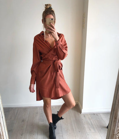 SOCIETY ADDICT Azalia Wrap Dress- Rust