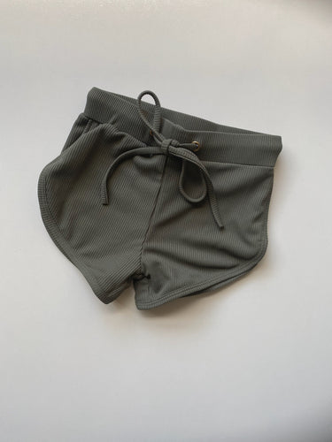 Ribbed khaki swim shorts