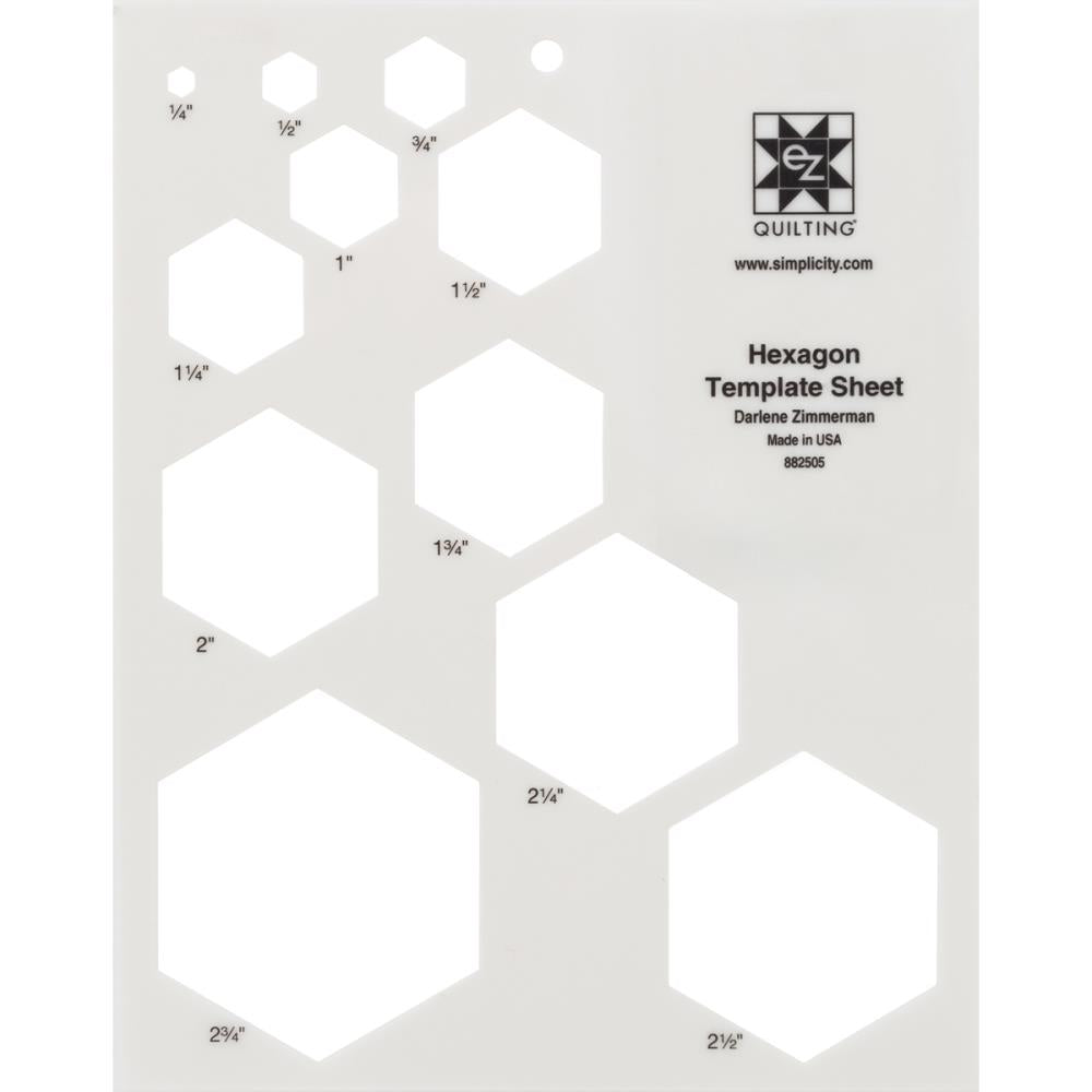 Hexagon Template Sheet-Ez Quilting