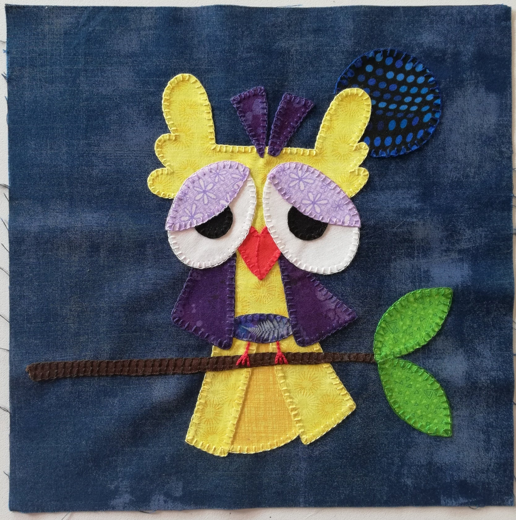 """Quirky Birds"" in COTTON, Block of the Month by Pink Possum"