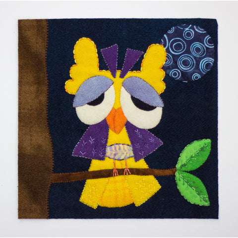"""Quirky Birds"" in WOOL, Block of the Month by Pink Possum"