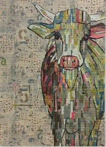 Abilene Cow Collage Pattern by Laura Heine