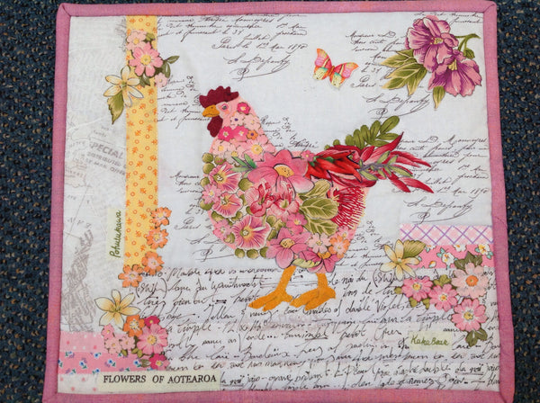 NZ Floral Chook Collage Kit - Sue Roper