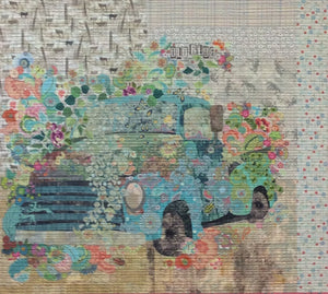 Old Blue Truck Collage  Pattern by Laura Heine