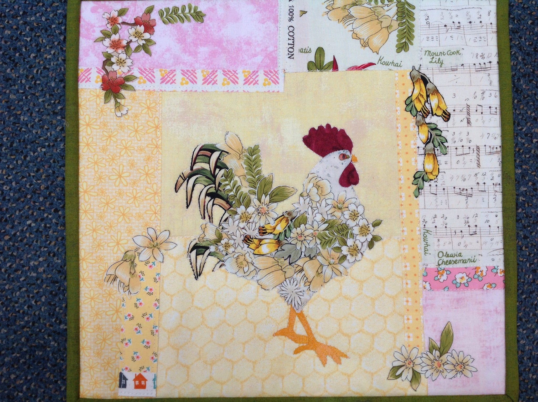 NZ Floral Rooster Collage Kit - Sue Roper