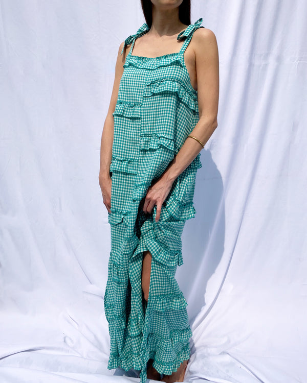 LECCE DRESS- BOTTLE GREEN GINGHAM