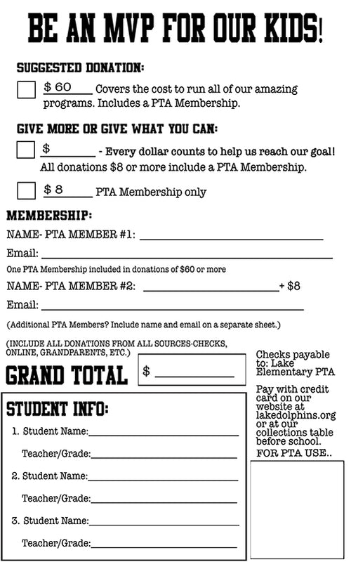 2019/2020 Donation Fundraiser + PTA Membership