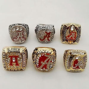 Alabama Crimson Tide College Football Championship Ring Set (1992, 2009, 2011, 2012, 2015, 2015)