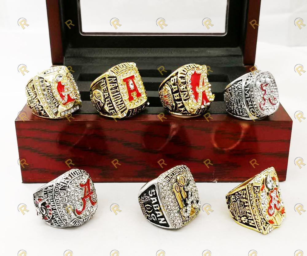 Alabama Crimson Tide College Football Ring Set (1992, 2009, 2011, 2012, 2015, 2017)