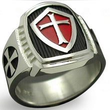Load image into Gallery viewer, Red Armor Shield Knight Templar Crusader Ring