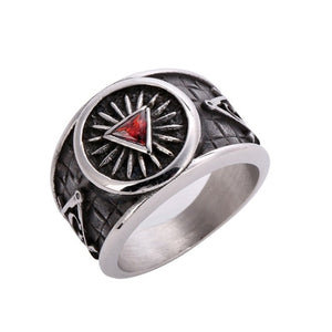 Red Triangle Crystal Masonic Ring