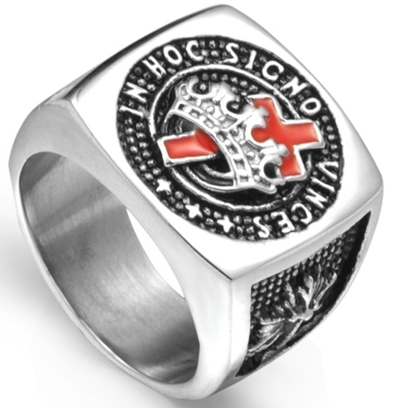 Masonic Red Cross Crown Templar Knight Ring