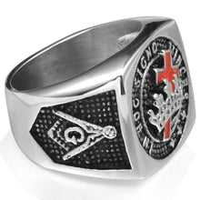 Load image into Gallery viewer, Masonic Red Cross Crown Templar Knight Ring