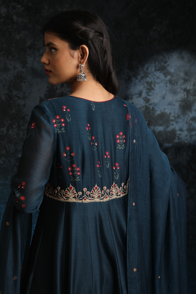 Delightful & Delicate Midnight Blue Embroidered Anarkali Set (ALY-02)