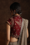 Beautiful & Attractive Stripe Border Embroidered Saree & Blouse ( YMN-09A )