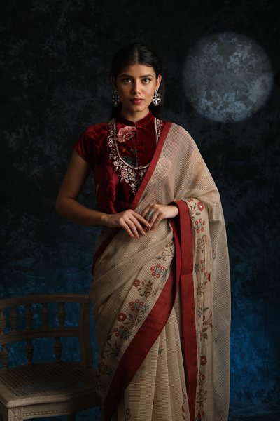 Pristine & Rich Stripe Saree With Embroidered Blouse ( ALY-04 )