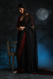 Exquisite & Classy Black Embroidered Saree With Blouse (ALY-03)