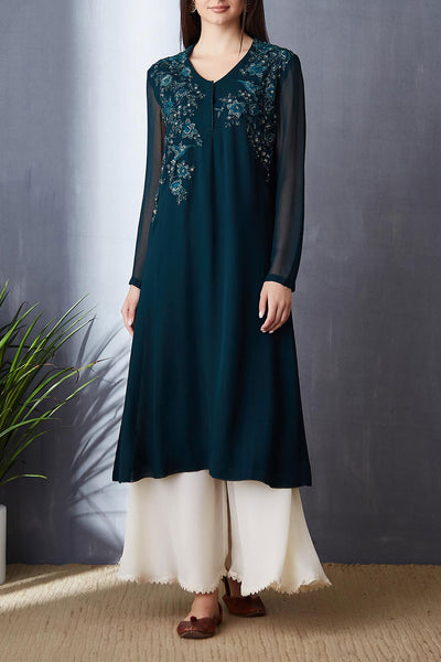 Beautiful Teal A-line Tunic Set ( BGH-09B )