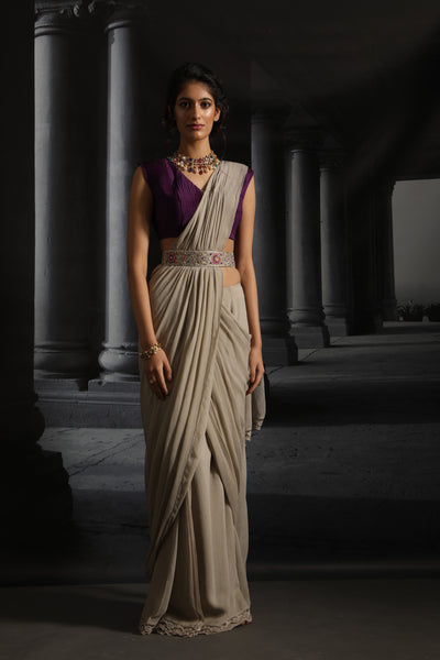 Chiffon Pre- stitched Saree Set With Embroidered Belt (EM-04/GREY)