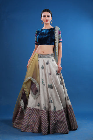Embroidered Lehenga With Silver Stripes Border