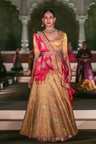 Eye Catching Ocher Yellow Embroidered Lehenga Set ( KZ-03 )
