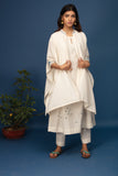DRAPED EMBROIDERED CAPE WITH LEHERIYA EMBROIDERED KURTA AND STRAIGHT PANTS. IVORY (BNS-06A)