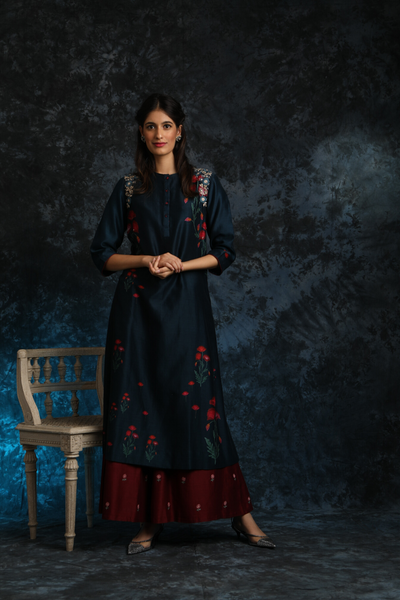 Floral Booti Printed & Embroidered Kurta Set (ALY-01)