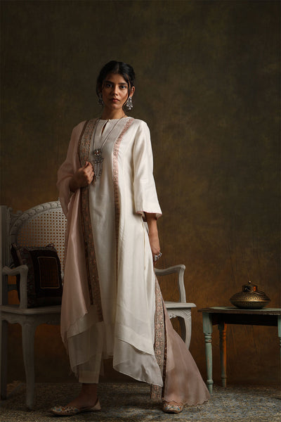 Double Layered Kurta With Straight Pants & Dupatta (YMN-13A)