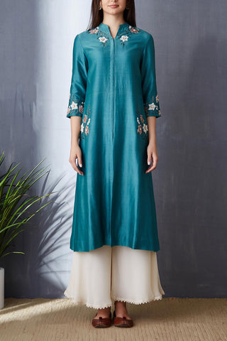 Stunning Light Teal A-line Tunic Set ( BGH-03A )