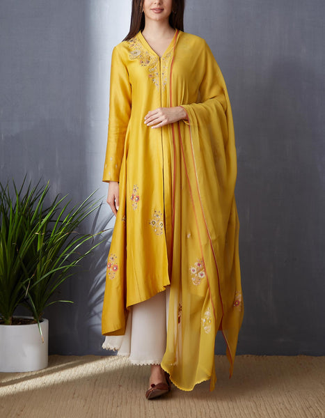 Classy Yellow Kurta Set with Sequince Embroidery ( BGH-05B )