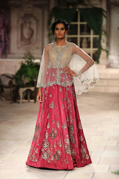 Embroidered Dress  In  Tussar And Cape In Net