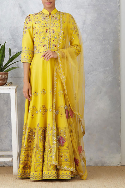 Yellow Foil Printed & Embroidered Anarkali Set (  KA-58A )