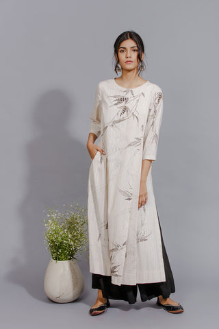 Art Print Front Pleat Kurta. Ivory