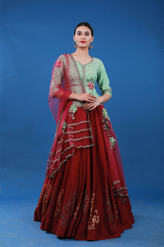 Foil Printed Lehenga And Jacket Blouse
