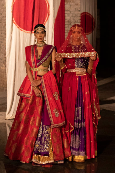 A red kalash weave silk lehenga set (LS-13)
