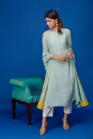 Attractive Mint Chikankari Embroidered Kurta Set ( INY-29A )