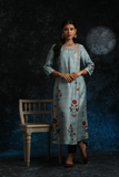 Floral Printed & Embroidered Kurta Paired With Straight Pants (ALY-08A)