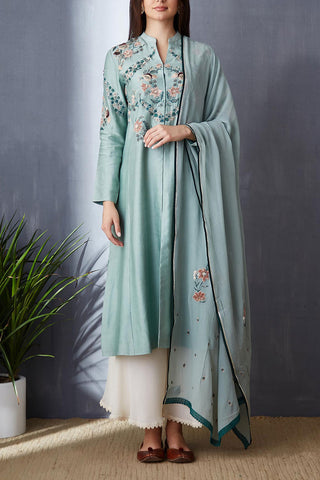 Attractive Aqua A-line Kurta With Palazzo Set ( BGH-10B )