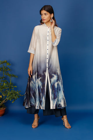 Floral Printed Contrast Colour Front Buttoned Kurta. Ivory