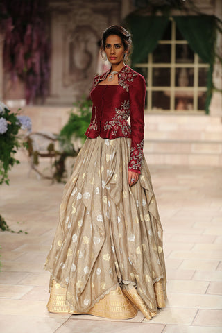 Embroidered Jacket And Embellished Drape Skirt JP-42