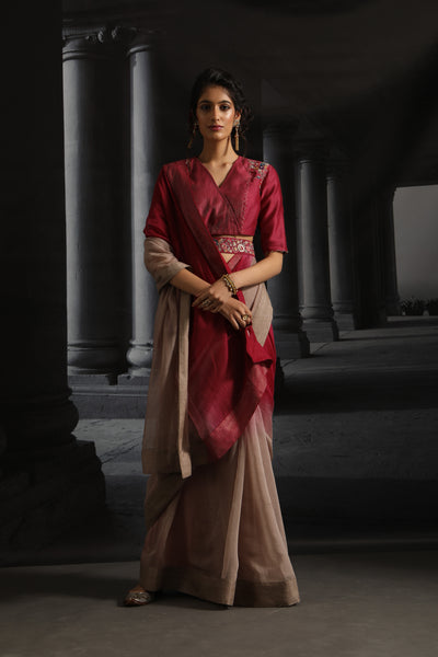 Ombre Chanderi Embroidered Saree Set With Belt ( EM-05/Ruby, Champagne )